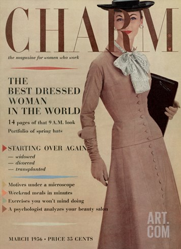 Charm Cover - March 1956 Stretched Canvas Print