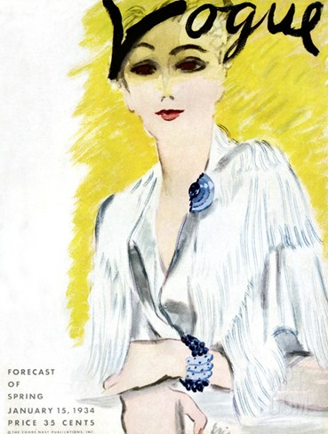 Vogue Cover - January 1934 Stretched Canvas Print