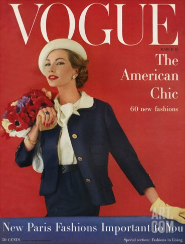Vogue Cover - March 1957 Stretched Canvas Print