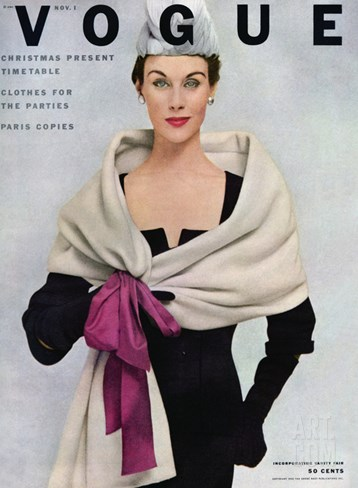 Vogue Cover - November 1952 Stretched Canvas Print