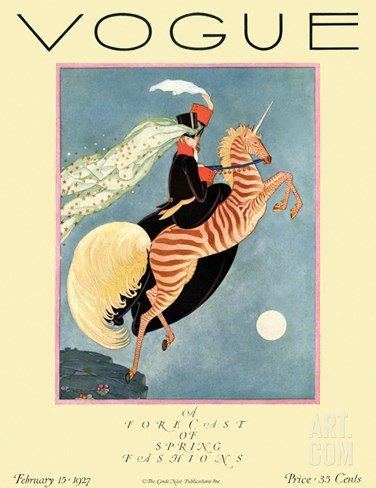 Vogue Cover - February 1927 Stretched Canvas Print