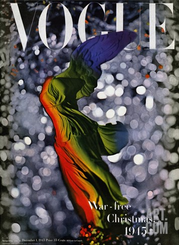Vogue Cover - December 1945 Stretched Canvas Print