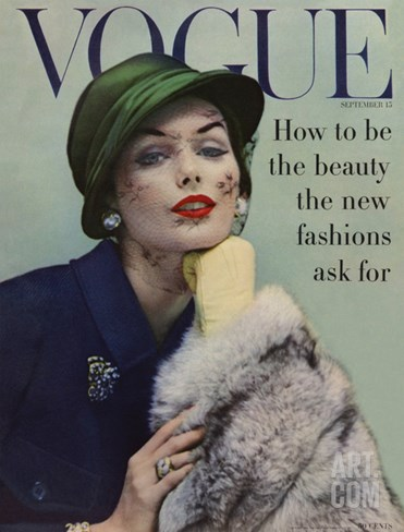 Vogue Cover - September 1956 Stretched Canvas Print