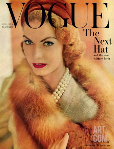 Vogue Cover - August 1957 Stretched Canvas Print