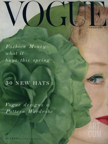 Vogue Cover - February 1953 Stretched Canvas Print