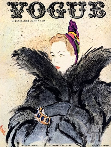 Vogue Cover - September 1937 Stretched Canvas Print