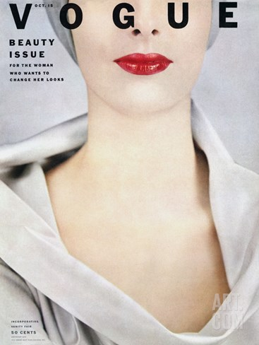 Vogue Cover - October 1952 Stretched Canvas Print