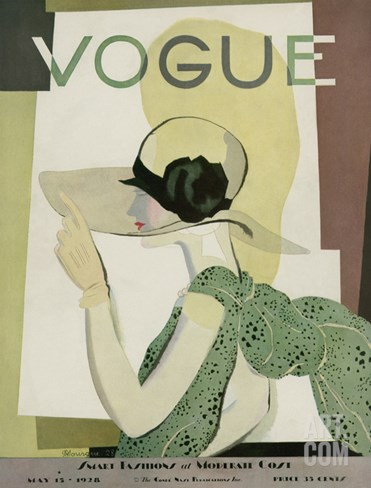 Vogue Cover - May 1928 Stretched Canvas Print