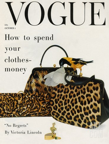 Vogue Cover - October 1958 Stretched Canvas Print