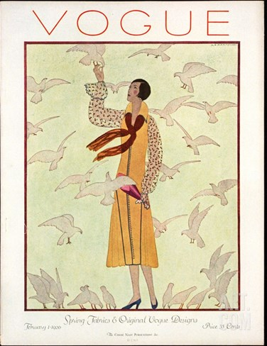 Vogue Cover - February 1926 Stretched Canvas Print
