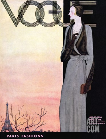 Vogue Cover - October 1930 Stretched Canvas Print