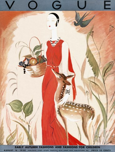 Vogue Cover - August 1930 Stretched Canvas Print