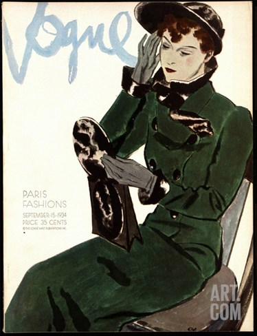 Vogue Cover - September 1934 Stretched Canvas Print