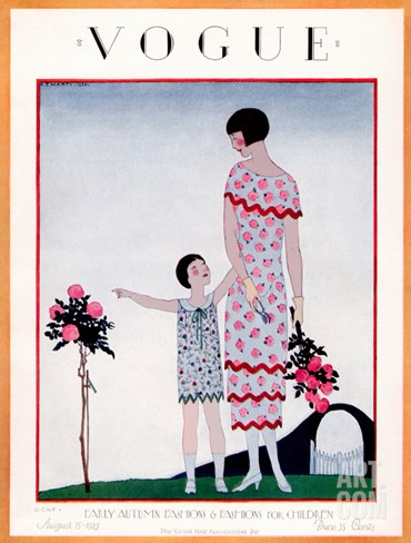 Vogue Cover - August 1925 Stretched Canvas Print