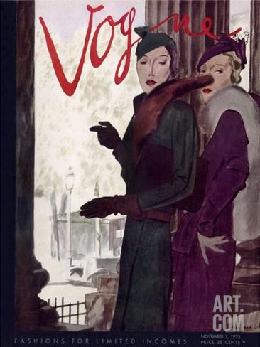 Vogue Cover - November 1933 Stretched Canvas Print