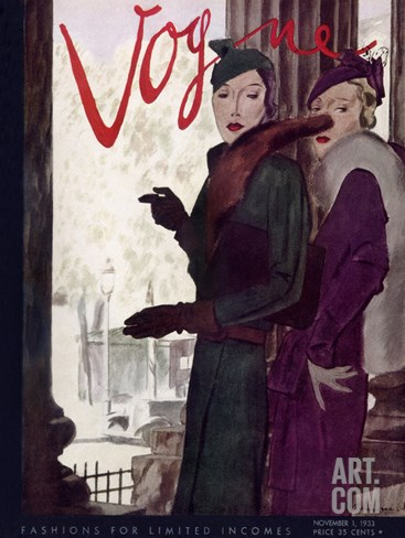 Vogue Cover - November 1933 Stretched Canvas Print