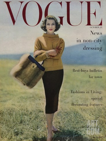 Vogue Cover - October 1956 Stretched Canvas Print