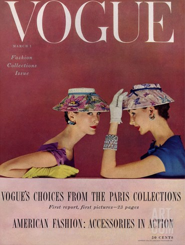 Vogue Cover - March 1954 Stretched Canvas Print