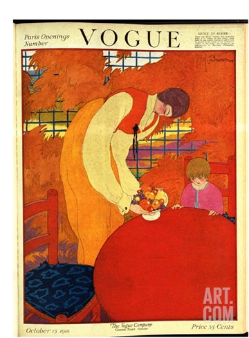 Vogue Cover - October 1918 Stretched Canvas Print