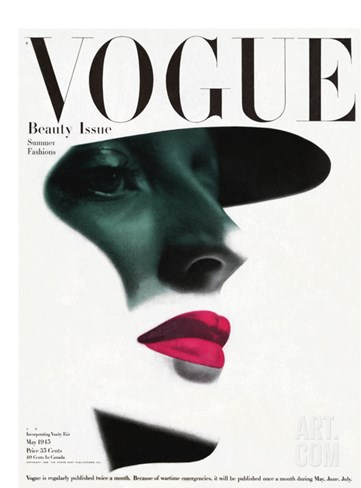 Vogue Cover - May 1945 Stretched Canvas Print