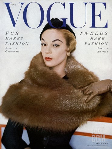 Vogue Cover - October 1953 Stretched Canvas Print