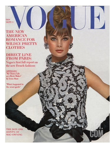 Vogue Cover - September 1963 Stretched Canvas Print