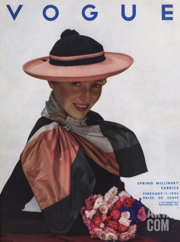 Vogue Cover - February 1934 Stretched Canvas Print