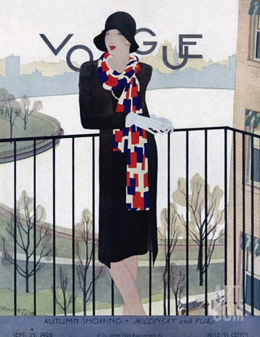 Vogue Cover - September 1928 Stretched Canvas Print