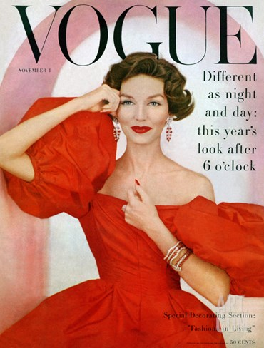 Vogue Cover - November 1956 Stretched Canvas Print
