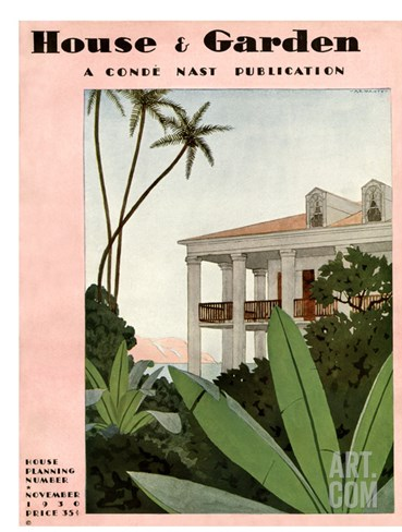 House & Garden Cover - November 1930 Stretched Canvas Print