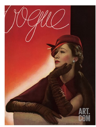 Vogue Cover - August 1933 Stretched Canvas Print