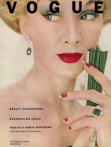 Vogue Cover - October 1951 Stretched Canvas Print