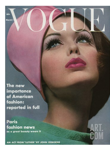 Vogue Cover - March 1962 Stretched Canvas Print