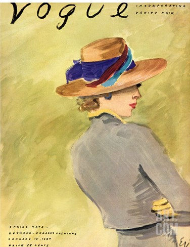 Vogue Cover - January 1937 Stretched Canvas Print