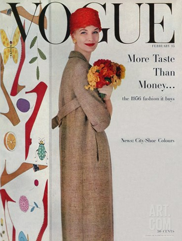 Vogue Cover - February 1956 Stretched Canvas Print