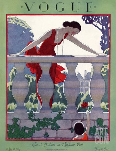 Vogue Cover - May 1924 Stretched Canvas Print