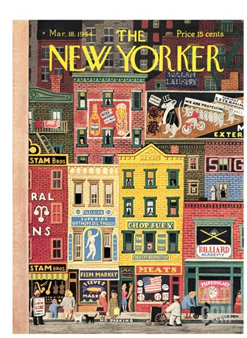 The New Yorker Cover - March 18, 1944 Stretched Canvas Print