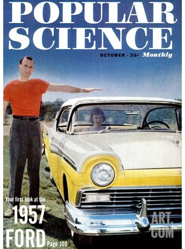 Front cover of Popular Science Magazine: October 1, 1957 Stretched Canvas Print