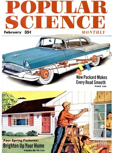 Front cover of Popular Science Magazine: February 1, 1950 Stretched Canvas Print