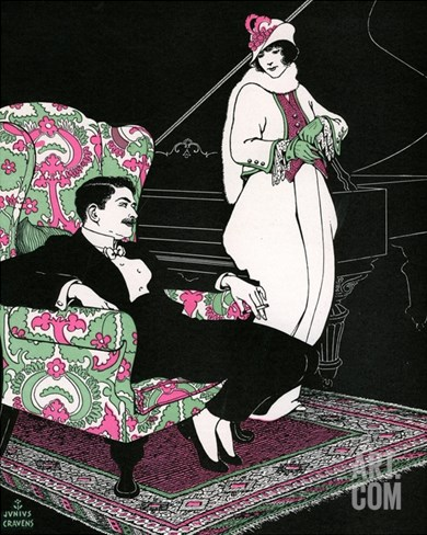 Illustration of Fashionable Woman Leaving Her Husband Sitting in an Armchair by Junius Cravens Stretched Canvas Print