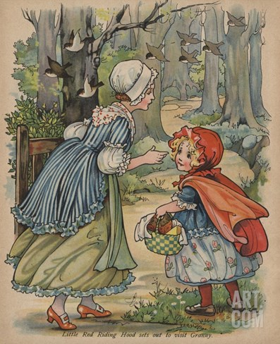 Little Red Riding Hood Sets Out to Visit Granny Stretched Canvas Print