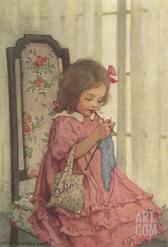 Illustration of a Little Girl Knitting by Jessie Willcox Smith Stretched Canvas Print