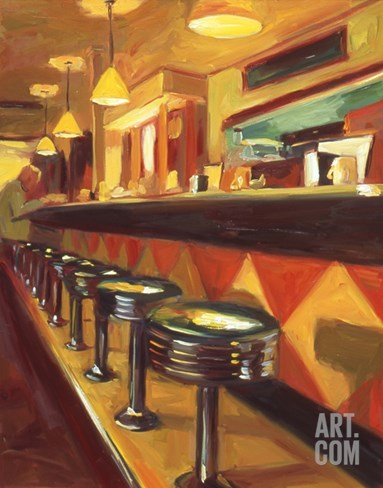 Corner Cafe Stretched Canvas Print