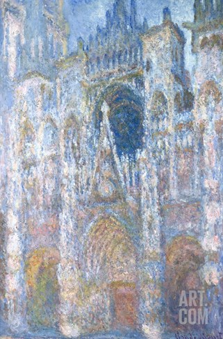 Rouen Cathedral, Blue Harmony, Morning Sunlight Stretched Canvas Print