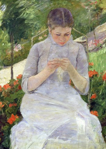 Young Woman Sewing in the Garden Stretched Canvas Print