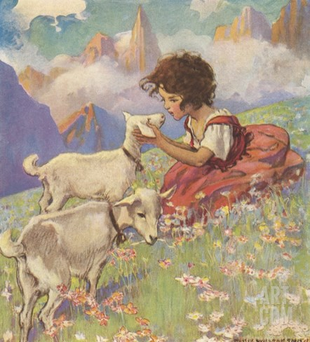 Illustration of Heidi and Her Goats by Jessie Willcox Smith Stretched Canvas Print
