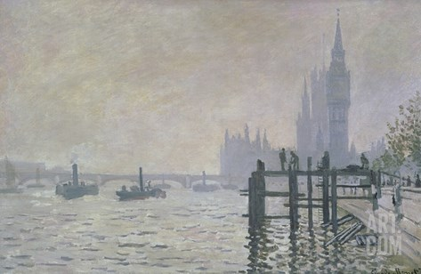 The Thames Below Westminster Stretched Canvas Print