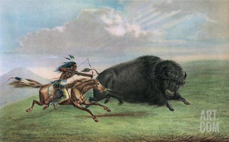 Print after Buffalo Hunt Stretched Canvas Print