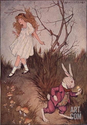 Illustration of Alice and the White Rabbit by Milo Winter Stretched Canvas Print