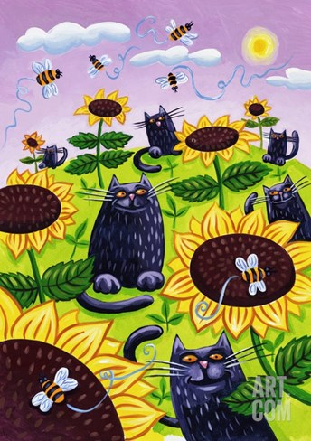 Black Cats Watching Honeybees on Sunflowers Stretched Canvas Print